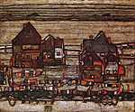 Egon Schiele: Külvárosi házak száradó ruhákkal az előtérben (id: 2427) vászonkép óra