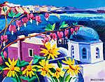 Santorini templomok (id: 4427) vászonkép óra