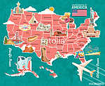 Üdvözöljük az USA-ban. Amerikai Egyesült Államok poszter. Vektor (id: 12728) többrészes vászonkép