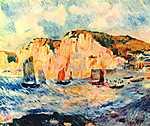 Pierre Auguste Renoir: Sziklás tengerpart, hajókkal (id: 1428) falikép keretezve