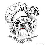 The poster with the image of dog Bulldog in the hat of chef and  (id: 14428) tapéta