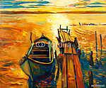 Hajó és móló (id: 4428) falikép keretezve
