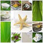 Wellness & Spa - Kollázs zöld és fehér (id: 5028) poszter