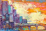 Város naplementében (id: 16129) vászonkép