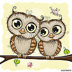 Greeting card with Two Owls (id: 19029)