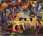 August Macke: Tájkép tehénnel és tevével (id: 2429) falikép keretezve