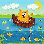 Macska egy hajón horgászni egy tó - vektoros illusztráció (id: 4529) többrészes vászonkép