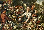 Joachim Beuckelaer: Zöldségpiac (id: 19730) falikép keretezve