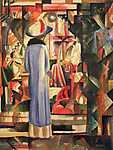 August Macke: Hölgy a kirakat előtt (id: 2430) többrészes vászonkép