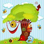 fa ház állatokkal - vektoros illusztráció (id: 4530) többrészes vászonkép