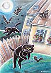 Fekete hülye macskák Chasing denevérek (id: 5330)