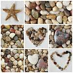Fényképek kollázsai kövekkel (id: 5430) falikép keretezve