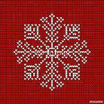 Absztrakt karácsonyi kártya kötött hópehely piros / fehér (id: 7030) többrészes vászonkép
