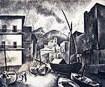 Kikötői látkép (rézkarc) (id: 19831) falikép keretezve