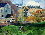 Paul Gauguin: Bretoni tájkép a Dávid malommal - Színverzió 1. (id: 3931) vászonkép