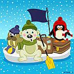 sarki medve walrus pingvin utazás floe vektor, eps (id: 4531) poszter
