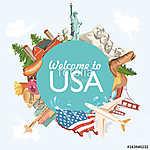 Üdvözöljük az USA-ban. Amerikai Egyesült Államok poszter. Vektor (id: 12732) többrészes vászonkép