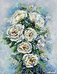 Fehér rózsák absztrakt festmény (id: 13232) poszter