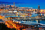 Port in Barcelona during evening. Catalonia, (id: 14932) többrészes vászonkép