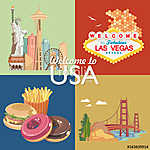 Üdvözöljük az USA-ban. Amerikai Egyesült Államok poszter. Vektor (id: 12733) vászonkép óra