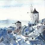Santorini megtekintése Görögország szigetén akvarell festmény (id: 10034) többrészes vászonkép