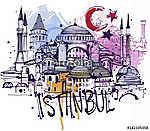 Isztambul Vázlat (id: 10334) vászonkép óra