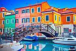 Színes ház Burano, Velence, Olaszország (id: 11834) falikép keretezve
