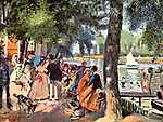 Pierre Auguste Renoir: Emberek a Grenouillere-ben (id: 1434) többrészes vászonkép