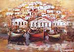 Csónakok a sziget kikötőjén, kézzel készített festészet (id: 10835) többrészes vászonkép