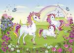 A group of white beautiful unicorns. Fairy-tale background with castle and rainbow. Wonderland. Flower meadow. Children illustra vászonkép, poszter vagy falikép