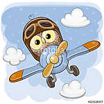Cute Owl is flying on a plane (id: 19035) poszter