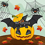 halloween sütőtök denevér - vektoros illusztráció, eps (id: 4535) többrészes vászonkép