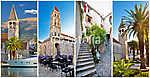 UNESCO város Trogir építészeti kollázs (id: 5035) falikép keretezve