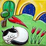 A macska alvó udvarban (id: 5335) falikép keretezve