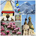 Collage of popular Nepalese travel destinations - Kathmandu vall (id: 5735) tapéta