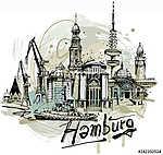 Hamburg vázlat (id: 10336) vászonkép óra