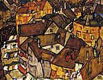 Egon Schiele: Krumau házai (id: 13936) többrészes vászonkép