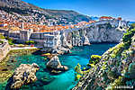 Dubrovnik landscape. / Aerial view at famous european travel destination in Croatia, Dubrovnik old town. (id: 16336) poszter