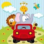 állatok autóval - vektoros illusztráció (id: 4536) többrészes vászonkép