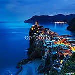 Vernazza falu, napnyugta légi felvétele. Cinque Terre, Ligury, I (id: 5136) poszter