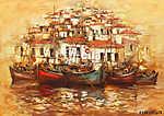 Csónakok a sziget kikötőjén, kézzel készített festészet (id: 10837) vászonkép