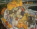 Egon Schiele: Házak félholdja II (id: 13937) vászonkép óra