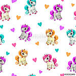 Cute seamless pattern with funny cartoon pony and hearts on white background. Vector girlish texture (id: 18837)