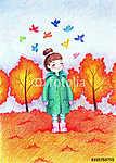 Gyermekkép egy kis gyönyörű lányról, aki sétálni akar (id: 9337)