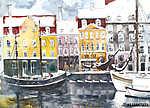Akvarell táj Koppenhága városi ünnepi üdvözlőlap illusztráció (id: 10038) falikép keretezve