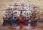 Csónakok a sziget kikötőjén, kézzel készített festészet (id: 10838) tapéta