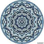 Vector blue decorative mandala ornament (id: 13038) tapéta