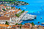 Hvar promenade aerial cityscape. / Aerial view at famous promenade in Hvar town, popular tourist resort in summertime. (id: 16338) poszter