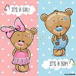 Teddy Bears boy and girl (id: 19038) falikép keretezve