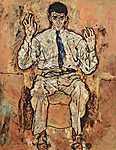 Egon Schiele: Albert Paris von Gütersloh portré (id: 2438) vászonkép óra